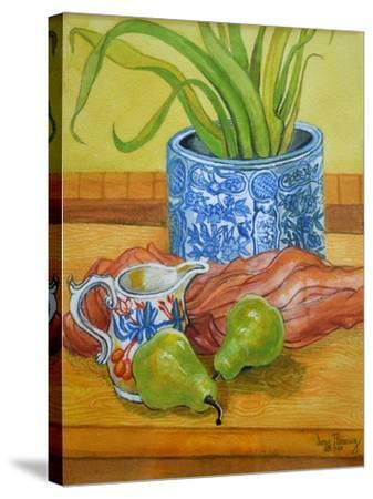 Blue and White Pot, Jug and Pears-Joan Thewsey-Stretched Canvas Print