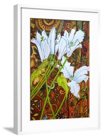 Lilies Against a Patterned Fabric-Joan Thewsey-Framed Giclee Print