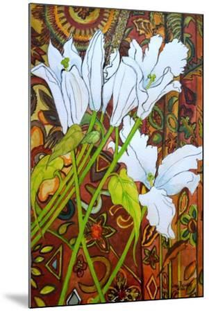 Lilies Against a Patterned Fabric-Joan Thewsey-Mounted Giclee Print
