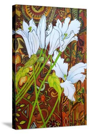 Lilies Against a Patterned Fabric-Joan Thewsey-Stretched Canvas Print