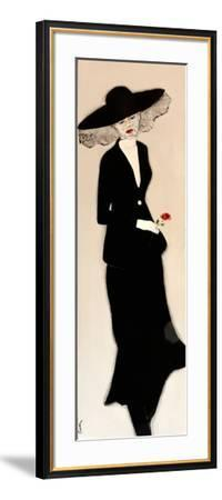 Lady in Black with Hat and Rose, 2016-Susan Adams-Framed Giclee Print