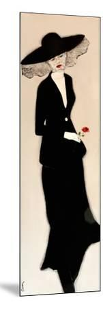 Lady in Black with Hat and Rose, 2016-Susan Adams-Mounted Giclee Print