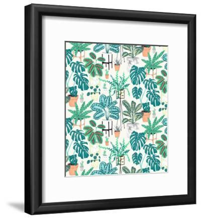 House Plants Teal-Jacqueline Colley-Framed Giclee Print