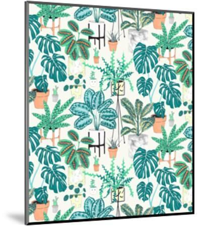 House Plants Teal-Jacqueline Colley-Mounted Giclee Print