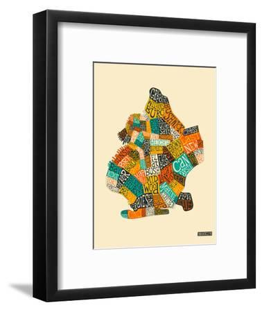 Brooklyn Neighbourhoods-Jazzberry Blue-Framed Premium Giclee Print