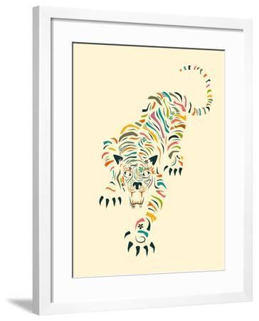 Tiger-Jazzberry Blue-Framed Art Print