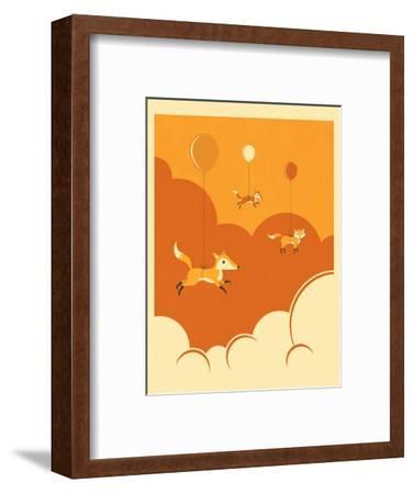 Flock of Foxes-Jazzberry Blue-Framed Art Print