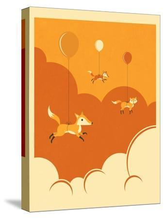 Flock of Foxes-Jazzberry Blue-Stretched Canvas Print