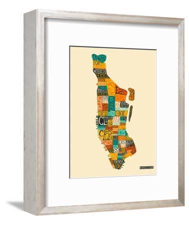 Manhattan Typographic Map-Jazzberry Blue-Framed Art Print