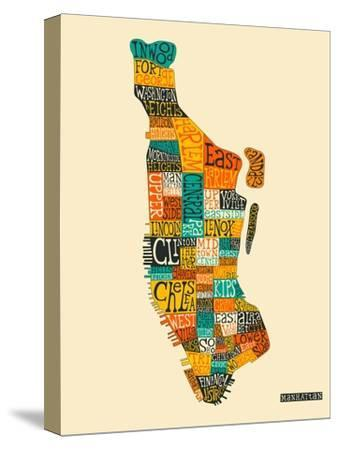 Manhattan Typographic Map-Jazzberry Blue-Stretched Canvas Print