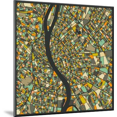 Budapest Map-Jazzberry Blue-Mounted Art Print