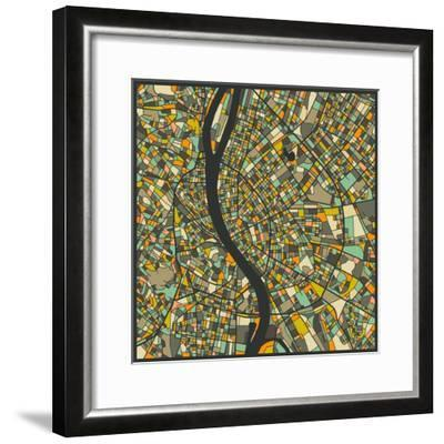 Budapest Map-Jazzberry Blue-Framed Art Print