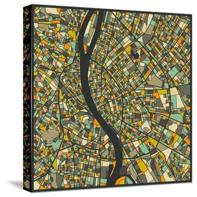 Budapest Map-Jazzberry Blue-Stretched Canvas Print