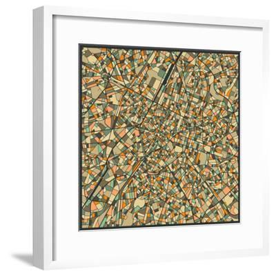 Brussels Map-Jazzberry Blue-Framed Art Print