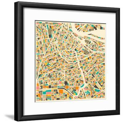 Amsterdam Map-Jazzberry Blue-Framed Premium Giclee Print