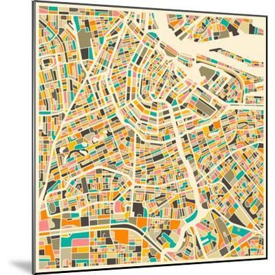 Amsterdam Map-Jazzberry Blue-Mounted Premium Giclee Print