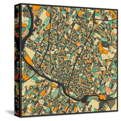 Austin Map-Jazzberry Blue-Stretched Canvas Print