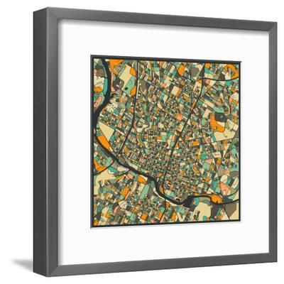 Austin Map-Jazzberry Blue-Framed Art Print