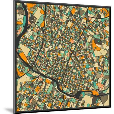 Austin Map-Jazzberry Blue-Mounted Art Print