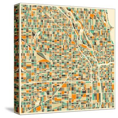 Chicago Map-Jazzberry Blue-Stretched Canvas Print