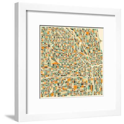 Chicago Map-Jazzberry Blue-Framed Art Print
