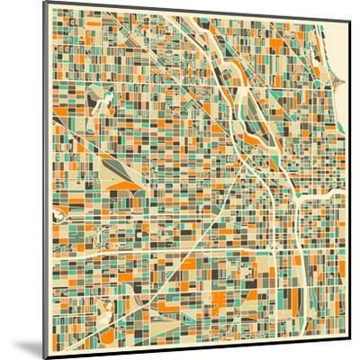 Chicago Map-Jazzberry Blue-Mounted Art Print