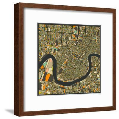 New Orleans Map-Jazzberry Blue-Framed Art Print