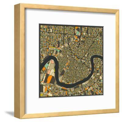 New Orleans Map-Jazzberry Blue-Framed Art Print