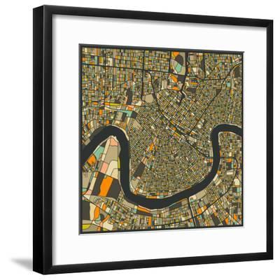 New Orleans Map-Jazzberry Blue-Framed Premium Giclee Print