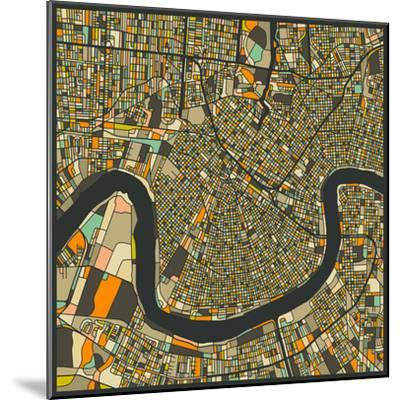 New Orleans Map-Jazzberry Blue-Mounted Premium Giclee Print