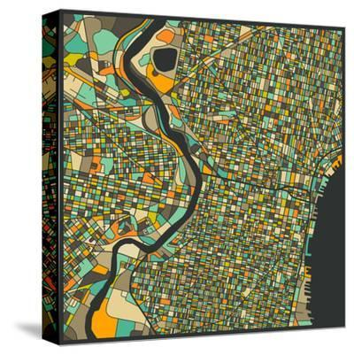 Philadelphia Map-Jazzberry Blue-Stretched Canvas Print
