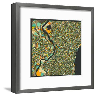 Philadelphia Map-Jazzberry Blue-Framed Art Print