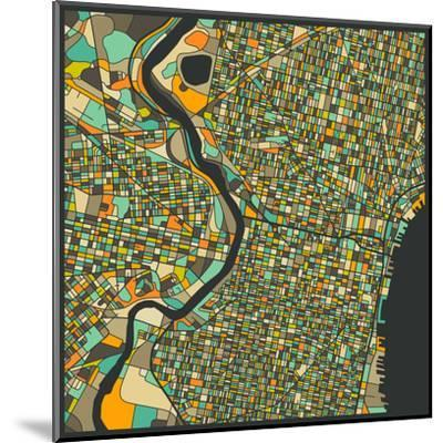 Philadelphia Map-Jazzberry Blue-Mounted Art Print