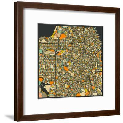 San Francisco Map-Jazzberry Blue-Framed Art Print