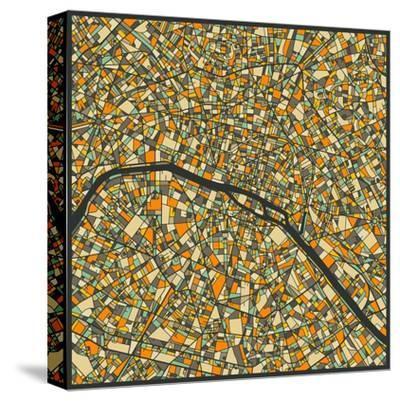Paris Map-Jazzberry Blue-Stretched Canvas Print