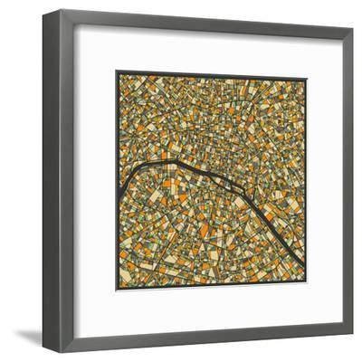 Paris Map-Jazzberry Blue-Framed Art Print