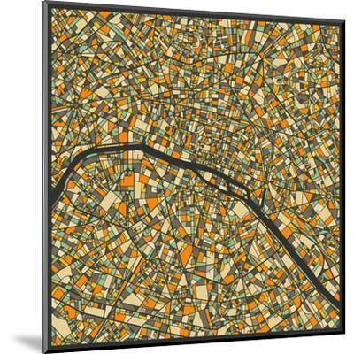 Paris Map-Jazzberry Blue-Mounted Art Print