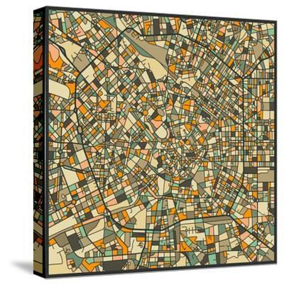 Milan Map-Jazzberry Blue-Stretched Canvas Print