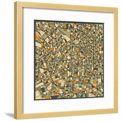 Milan Map-Jazzberry Blue-Framed Art Print