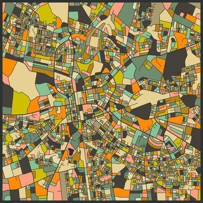 Lusaka Map-Jazzberry Blue-Art Print