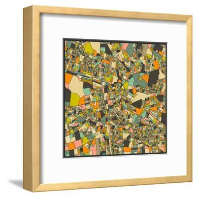 Lusaka Map-Jazzberry Blue-Framed Art Print
