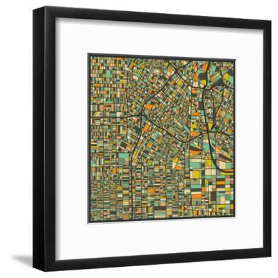 Los Angeles Map-Jazzberry Blue-Framed Art Print