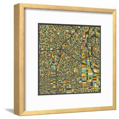 Los Angeles Map-Jazzberry Blue-Framed Art Print