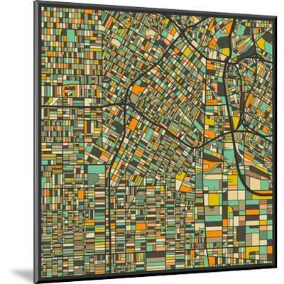 Los Angeles Map-Jazzberry Blue-Mounted Art Print