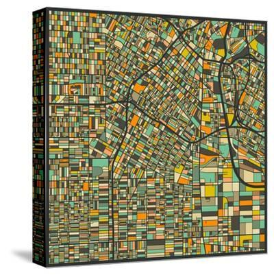 Los Angeles Map-Jazzberry Blue-Stretched Canvas Print