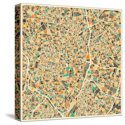 Madrid Map-Jazzberry Blue-Stretched Canvas Print