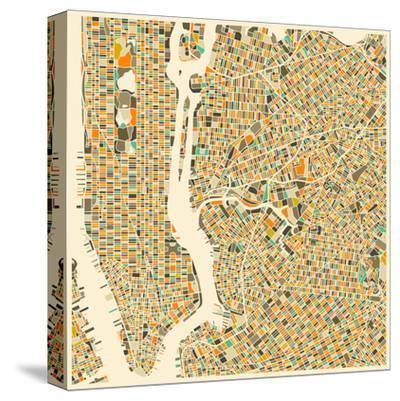 Manhattan Map-Jazzberry Blue-Stretched Canvas Print