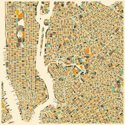 Manhattan Map-Jazzberry Blue-Art Print