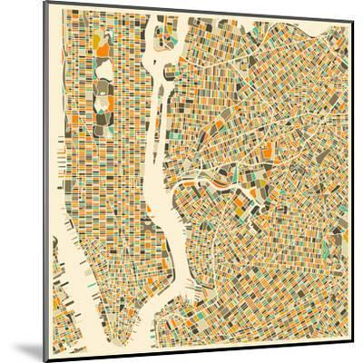 Manhattan Map-Jazzberry Blue-Mounted Art Print