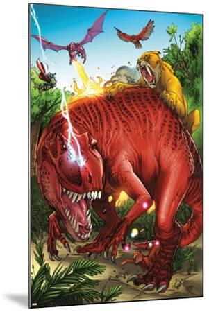 Lockjaw and the Pet Avengers No.2 Group: Devil Dinosaur, Zabu, Red Wing and Lockheed-Ig Guara-Mounted Art Print